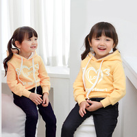 2014 new autumn and winter children's clothing brand fashion loving girls warm fleece long sleeve hoodie