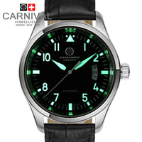 Free shipping Carnival watch automatic mechanical male table waterproof luminous cutout stainless steel mens watch strap watch