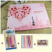10 inch diy photo album handmade baby scrapbooking lovers scrapbook + corner posts + pen