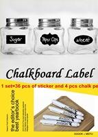 Free Shipping 4 pcs Liquid Chalk Pen and 36 pcs Chalkboard Sticker Labels Vinyl Kitchen Pantry Home 3 Design Decals 5CM X 3.5CM