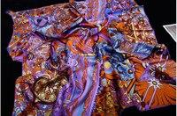 New 2014 Brand 100% Twill Silk Scarf Handmade Rim For Women Designer Printed Mulberry Silk Square Scarves Woman 90x90cm SF0258