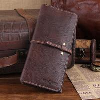 New 2014 Design Genuine Leather Men Wallets Brand Vintage Bandage Cowskin Wallet Classic Money Clip Long Purse Carterira TBG0094