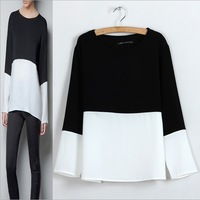 ST198 New fashion womens' Elegant Classic black and white blouses quality casual shirts o neck fashion loose top designer blouse