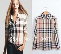 ST171 New Arrival womens' Classic Basic Plaid Blouse elegant slim casual cozy shirts long sleeve brand quality tops