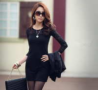 2014 Women Ladies Sexy Cotton Casual Lace Dress S M L XL For Spring and Autumn Promotio Free Shipping