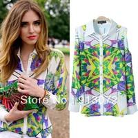 ST741 New Fashion Ladies' colors geometric print off  shoulder blouse shirt long sleeve casual slim shirts quality brand design