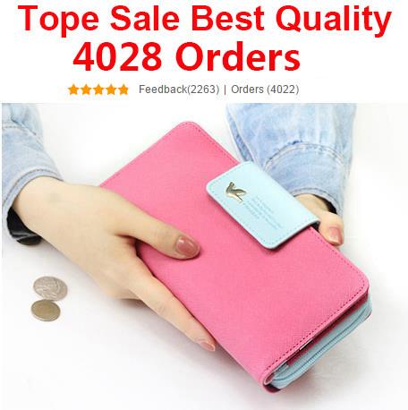 Top Sale 2014 Women Brand Wallets Famous Designer PU Leather Wallet Purses Ladies Multi Colors Women Wallets Free(China (Mainland))