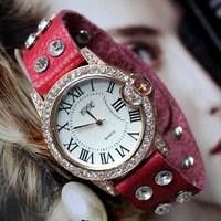 Retail 2014 New Women Dress Watches,Fashion Colorful Soft Genuine Leather Women Wrist Bracelet Gift Watch,Free Shipping