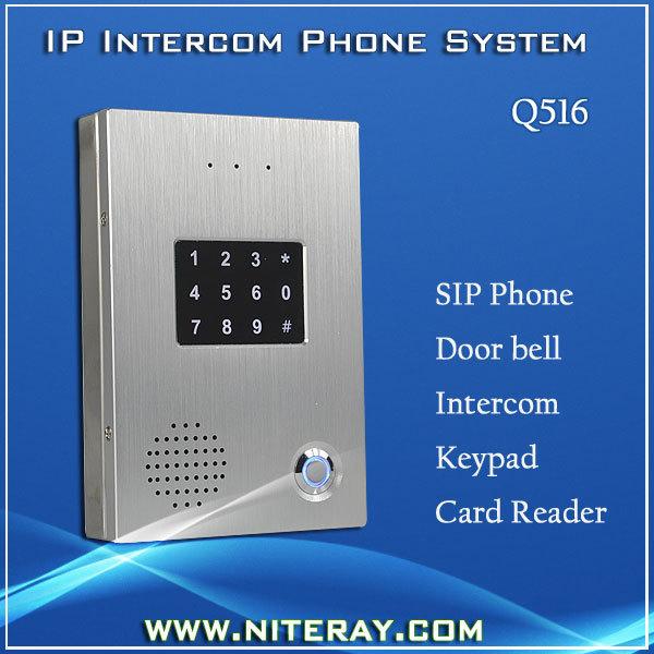 Sip audio de contrôle d'accès porte l'utilisation du téléphone sip ligne et carte d'identité