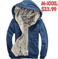 M-3XL men's plush thick warm overcoat winter wear coat fleece &cotton padded Jacket Men hoodie Free Shipping On sale