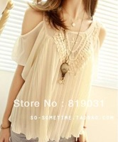 2013 HOT Women Ladies Sexy vintage crochet lace pleated chiffon shirt lotus leaf sleeve Off-shoulder tops Blouses