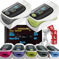 FDA CE finger pulse oximeter SPO2 PR monitor OLED display 4 color waveform 6 Display Modes