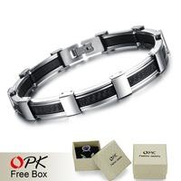 OPK MEN JEWELRY Best Quality Genuine Silicone + 316L Stainless Steel Bracelet Delicate Button Design True Men Accessory 822