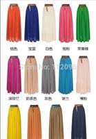 Free Shipping 2013 Women Amazing Sexy Chiffon Long Skirt 2013 New Fashion Hot Sales Bohemian Princess pleated Skirt High Quality