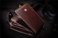 Free Shipping!2013 new promotion hot sale Men's genuine leather wallet male leather lines purse/men wallets
