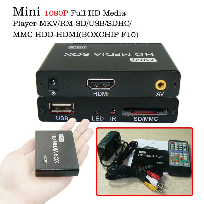 Mini USB 1080P Full HD Media Player External HDD Media Player With MMC/SD/MS/SDHC Reader Support MKV RM/RMVB multimedia player(China (Mainland))