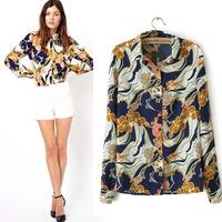 2014 new fashion roupas  femininas silk blouse flower printed  long sleeve shirt  european style womens blouses   ladies tops