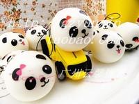 100pcs/lots 4cm mini panda Pu artificial bread/ soft bread pendant bags pendant gift squishy