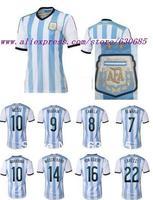 2014 thai best quality  Argentina home fans version blue di maria messi mascherano kun aguero lavezzi Argentina soccer jersey,