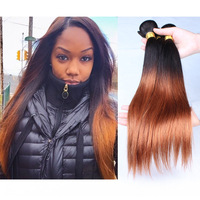 Ombre hair extensions 3pcs lot Brazilian Ombre Hair Straight Two Tone Ombre 1b/30 Human hair weave straight hair Free Shipping