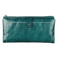 New oil wax leather purse women weaving process double zipper wallet long leather purse