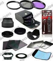 52mm Lens Hood + UV CPL FLD Filter Kit + Cap for Nikon D3100 D5100 w/ 18-55mm  + ND2 ND4 Square Filter Kit for Cokin P F9