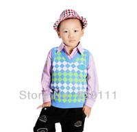 Wholesale 2pcs/Lot  new 2014  winter children fashion swaters kids vests & waistcoats sweater pullover intarsia vest
