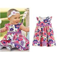 100% Cotton Girls Flower Dress New 2014 High Quality Summer Lace Baby Girl Dress Brand Designs Kids Children Clothing