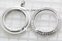 10pcs screw closure Stainless steel 30mm czech crystal glass locket for floating charms  keepsake xmas gift mother's gift