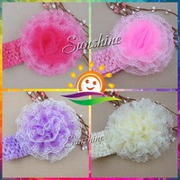 Sunshine store #2B2296 10pcs/lot (4 colors) Infant girls flower chiffon/lace yard Knitting Hair Weave crochet baby Headband CPAM