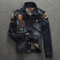 2014 APPLIQUE DENIM JACKET FASHION DENIM COAT JEANS JACKET  SEABAR  MEN'S JEANS JACKET OUTWEAR STYLISH JACKET PROMOTION JACKET