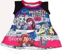 Wholesale children t shirts girls clothing brand Baby Girls Monster High Sleeveless T-shirts cartoon t-shirts for girls 3-8years