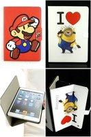 Luxury Cartoonl Anime Monster high Mario Despicable Me Minion Flip Leather Case Cover for Apple ipad 2 3 4&ipad mini&ipad air 5