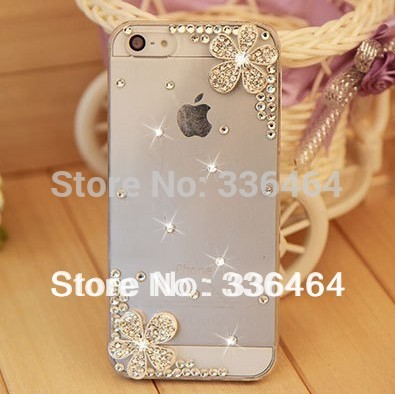 Wholesale Rhinestone Cherry Hard Back Cover Skin Case cover For iPhone 5 5s iPhone 4 4s case,New Ar