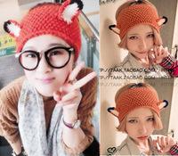 12pcs/lot contrast color wool crochet wide elastic headband fox ear wool hairband winter style D0090 free shipping