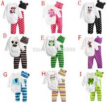 Macacão de bebê de algodão de manga comprida bebê infantil desenhos animados animais roupas de bebê recém-nascido romper + chapéu + calças 3 pcs conjunto de roupas AHY008(China (Mainland))