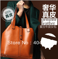Super Hot! Luxury Genuine Leather Women's Shoulder Bags Tote Handbag Messenger Bags Vintage Bags Retro bag Free Shipping