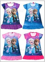 2014 New Frozen baby Girls Dress 2-8yrs Kids Summer Tee shirt Dress Elsa's style top Dresses Child Hot sale