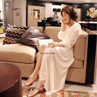 New Arrival Summer Women Elegant White Long Sleeve Chiffon Dress Bohemian Maxi Dress Fall Casual Free Size 19509