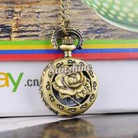 Promotion 5pcs/lot New Fashion Vintage Style Bronze Steampunk Rose Hollow Quartz Necklace Pendant Chain Clock Pocket Watch 19322