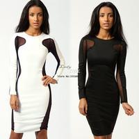 2014 New Arrival Women Sexy Net Yarn Patchwaork Bodycon Dress Long Sleeve Pencil Dress Hip Clubwear 2 Colors 3 Sizes 19141