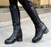 New arrival women's winter knee high riding boots side zipper genuine leather mid heels motorcycle boots women army boot FS141