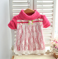 Free Shiping 2013 New Winter Children's Clothes Florals Lace Fleece Sweatshirt Basic Thickening Dress