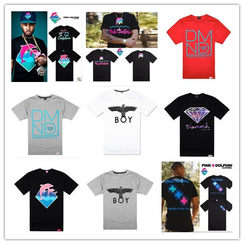 free shipping men's fashion cotton short-sleeve 2014 Pink dolphin Diamond Supply Boy London Brand t shirt for men best t-shirt(China (Mainland))