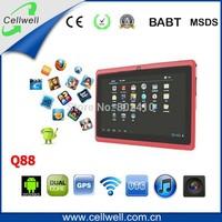 10pcs q88 7 inch cheapest dual allwinner 512mb tablet pc good quality q88 tablet pc