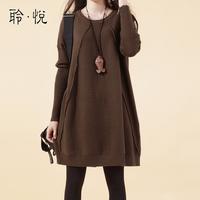 autumn fashion women's loose top long-sleeve sweater roll-up hem medium-long plus size basic skirt