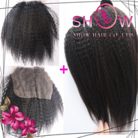 """Fashion Queen Hair Weaves,Brazilian 10""""-30"""" Kinky Straight Human Hair Extension Mix Length Lace Closure With 3 Bundles 4pcs alot"""