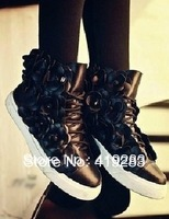 New Designer Fashion Camellia High Shoes High Quality Leather Flat Leisure Shoes With Flower Black Gold