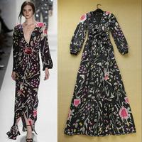 2014 Spring High Quality European American Brand Full Sleeve Floor-Length Flower Print Sexy Elegant Black Evening Long Dress
