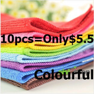10pcs/lot Free shipping Car Styling Car Care Microfiber Duster Child Small Facecloth cleaning towel sponge cloth for lada cars(China (Mainland))